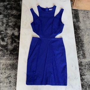 Cobalt blue cutout bodycon dress